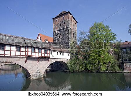 "Stock Photo of ""Pegnitz river with Henkersteg and Henkerhaus."