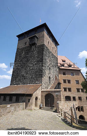 Stock Photo of Funfeckturm tower, Kaiserstallung building.