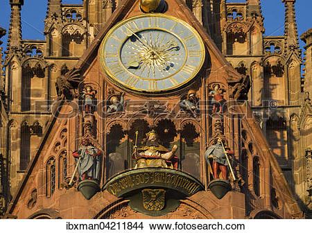 Stock Photo of Clock and figurines, Mannleinlaufen, Church of Our.