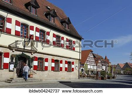 Picture of Old town hall at the market square, Pegnitz, Middle.