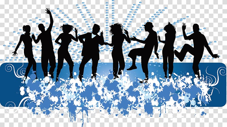 Dance Middle school , Dynamic silhouette figures transparent.