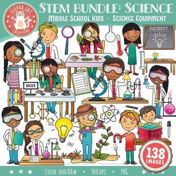 STEM Clip Art Bundle: Middle School / Teen Kids & Science.