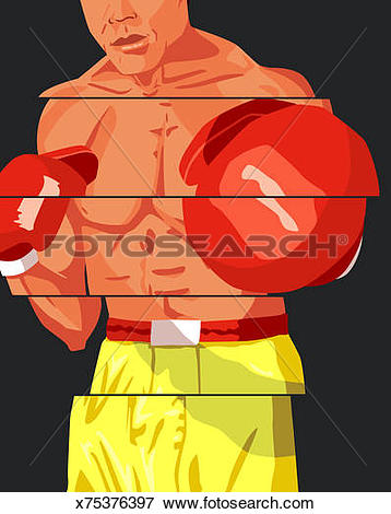 Stock Illustration of Male boxer throwing punch, middle section.