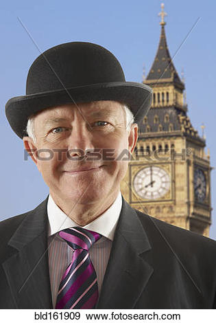 Stock Photograph of Caucasian businessman standing near Big Ben.