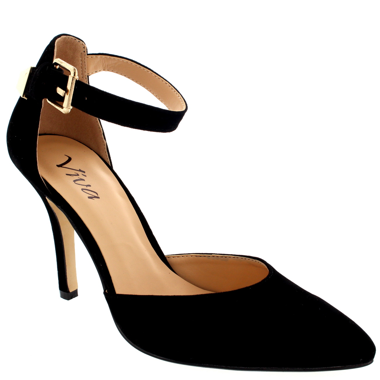 Womens Ankle Strap Low Mid Heel Office Work Court Shoes Pointed.
