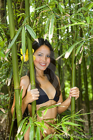 Polynesian Woman In A Bamboo Forest Stock Photography.