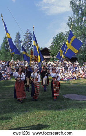 Stock Image of Midsummer celebrations at Rattvik in Dalarna Sweden.