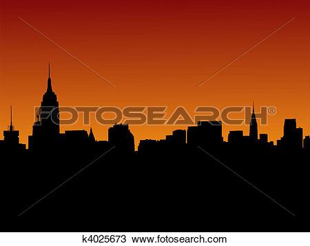 Drawing of Midtown Manhattan skyline at sunset k4025673.