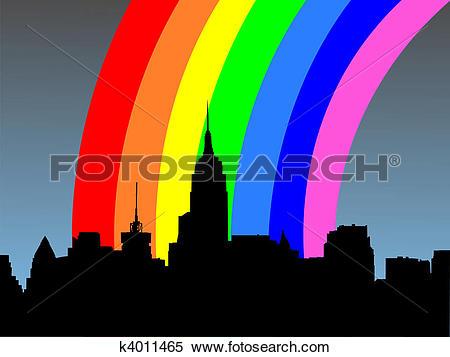 Stock Illustration of Midtown manhattan and rainbow k4011465.