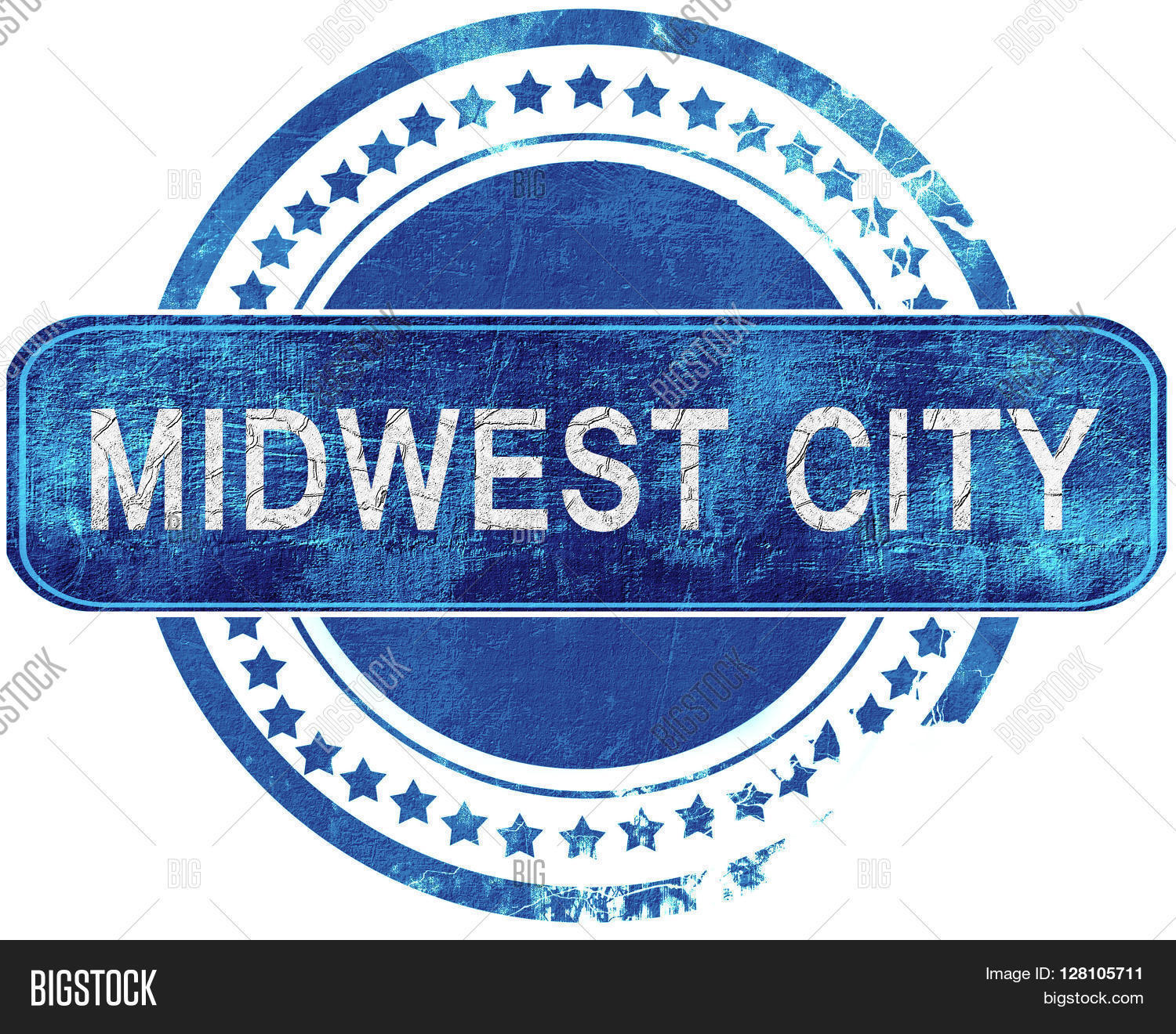 midwest city grunge blue stamp. Isolated on white. Stock Photo.