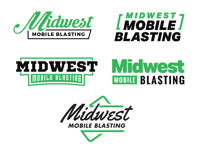 Midwest Mobile Blasting First Round of Logo Options by Sean.