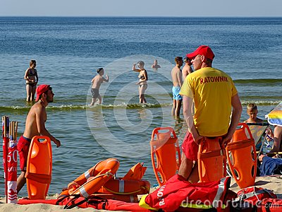 The Lifeguard On The Beach In Miedzyzdroje Editorial Stock Image.
