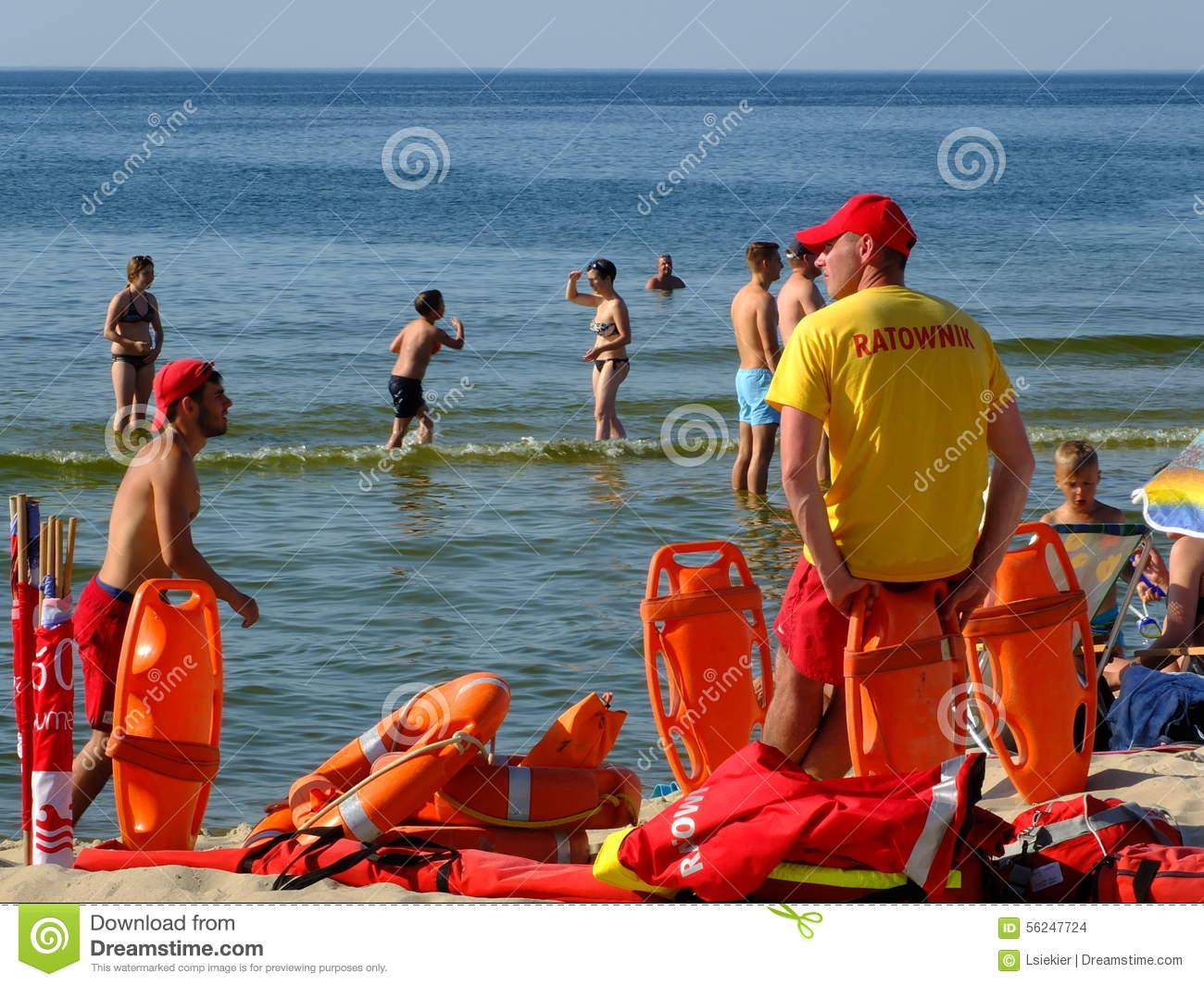 The Beach In Miedzyzdroje Editorial Stock Photo.