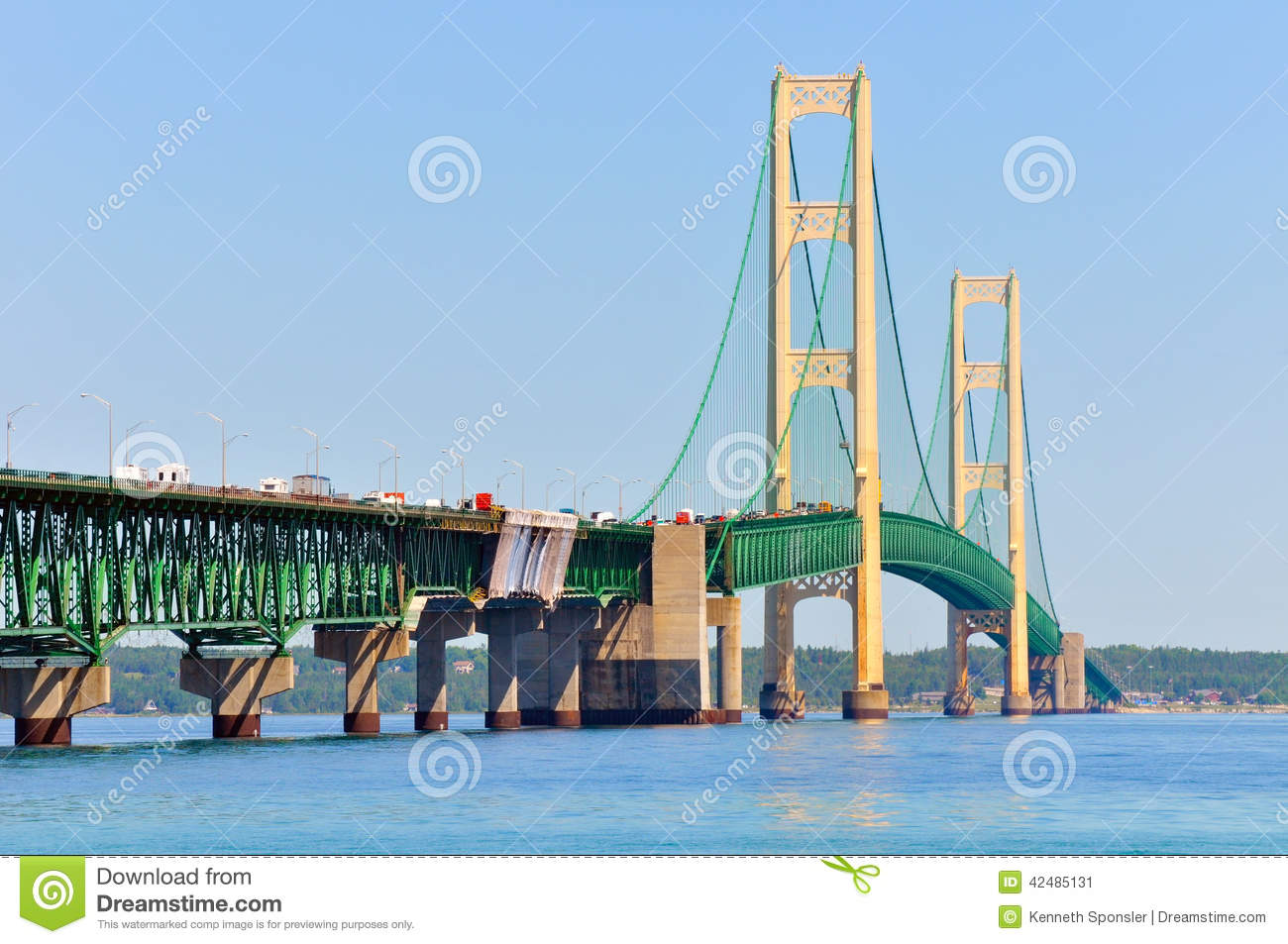 Mackinac Bridge Closeup Stock Photo.