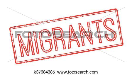 Clipart of Migrants red rubber stamp on white k37684385.
