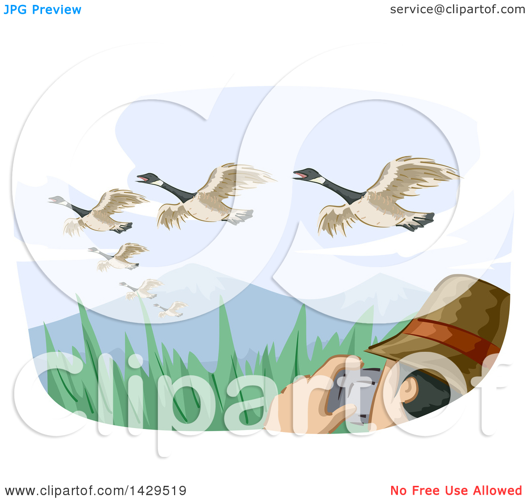 Clipart of a Man Watching Birds and Taking Pictures Under.