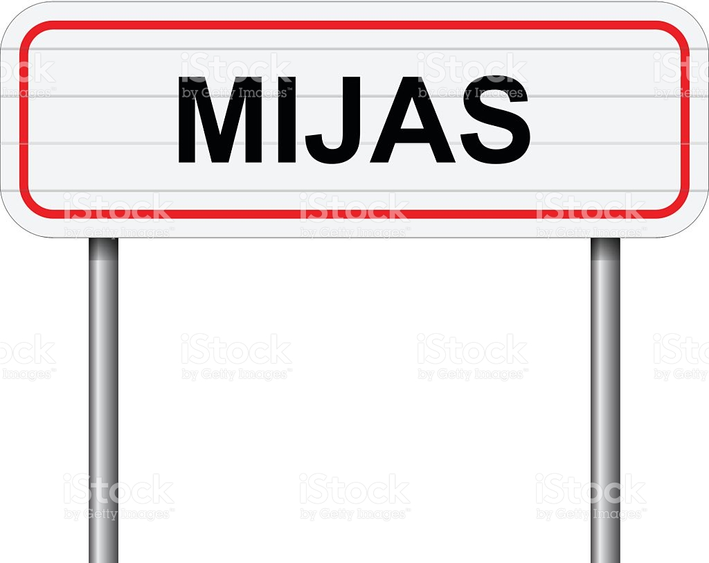 Welcome To Mijas Spain Road Sign Vector stock vector art 504858166.