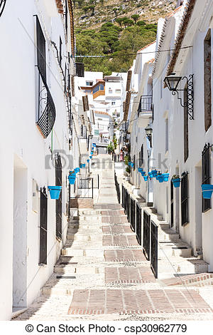 Picture of Street in Mijas, Andalucia, Spain csp30962779.