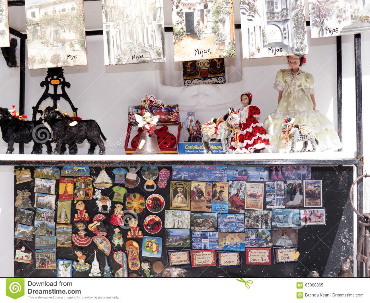 Tourist Items Frp Sale In Mijas On The Costa Del Sol Andalucia.