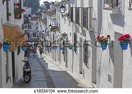 Stock Photo of Mijas, Costa del Sol, Spain. Calle San Sebastian.