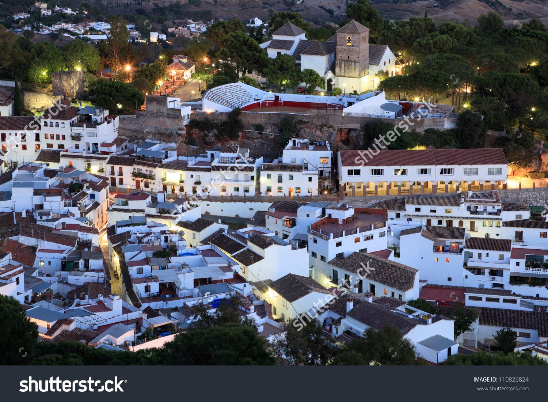 White Andalusian Village Mijas Pueblo At Dusk. Costa Del Sol.