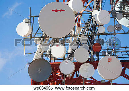 Stock Image of Communications masts and antennae above Mijas.
