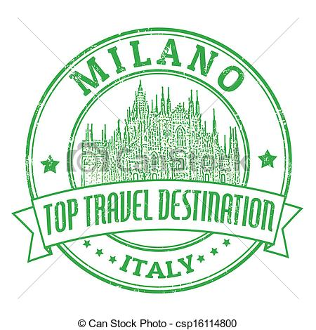 Vector Clipart of Milano, Italy stamp.