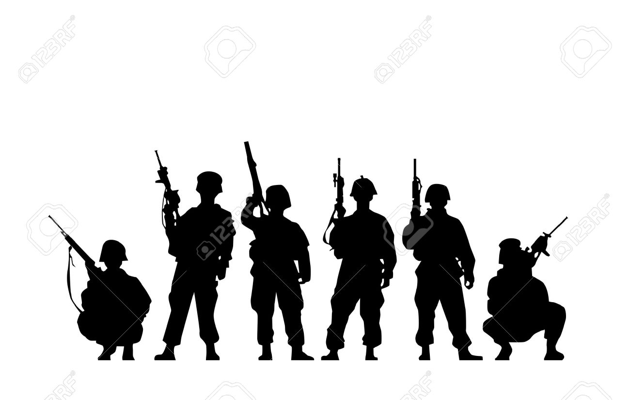 milatary silhouette clipart