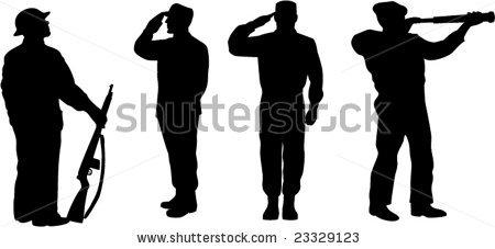 stock vector : Military servicemen silhouette.