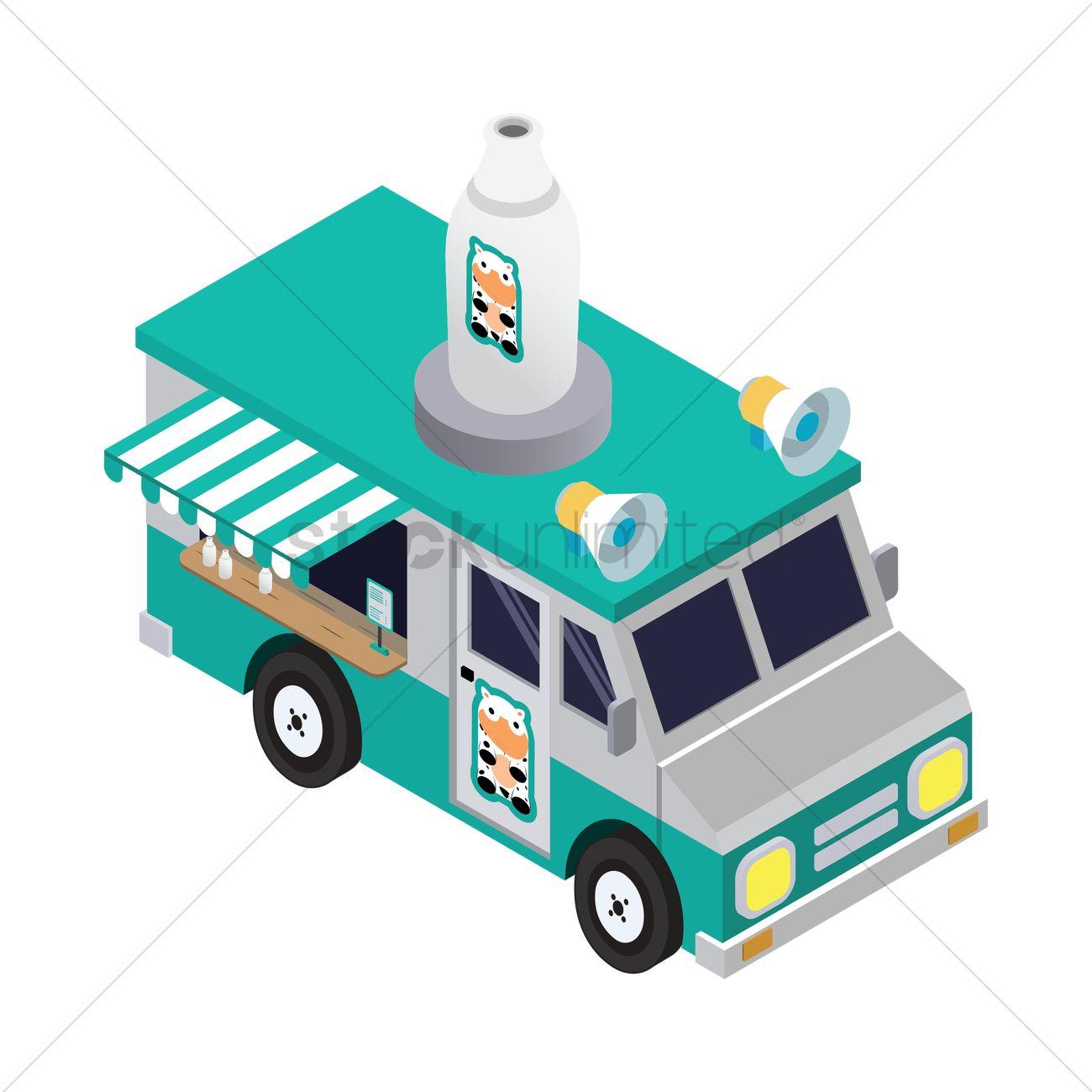 Milk truck Vector Image.