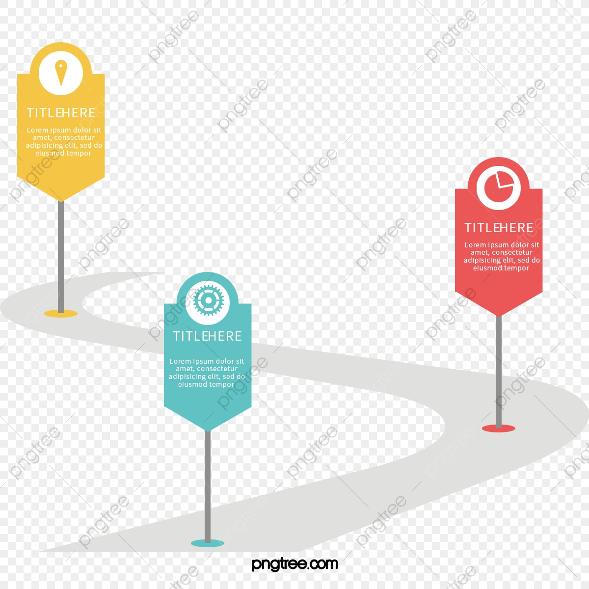 Color Icon Milestone Line, Vector Png, Information Chart.