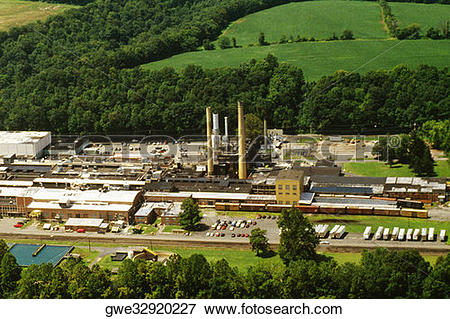Picture of Aerial view of a paper mill, Milford, New Jersey, USA.