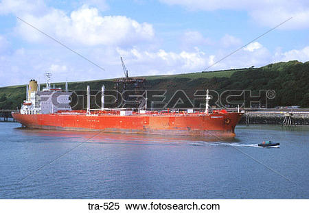 Stock Image of Red Oil Tanker Milford Haven Wales UK tra.