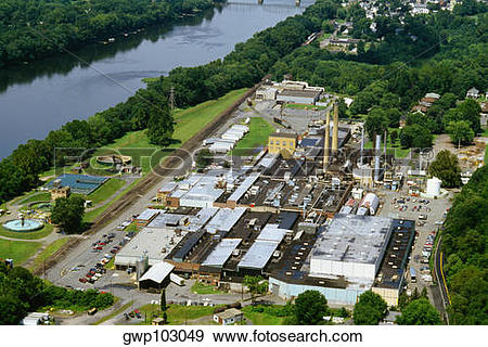 Stock Photograph of Aerial view of a paper mill, James River Paper.