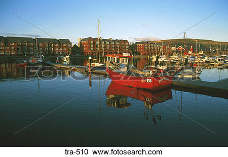 Stock Photography of Boats in Milford Haven Marina Wales tra.