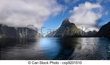 Stock Photography of Mitre Peak in the Milford Sound, Southland.