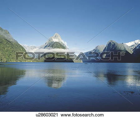 Stock Photography of Miter peak, Milford Sound, New Zealand.