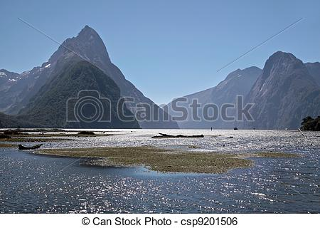 Stock Illustration of Milford Sound and Mitre Peak, Southland.