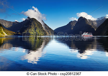 Stock Image of Milford Sound, New Zealand.