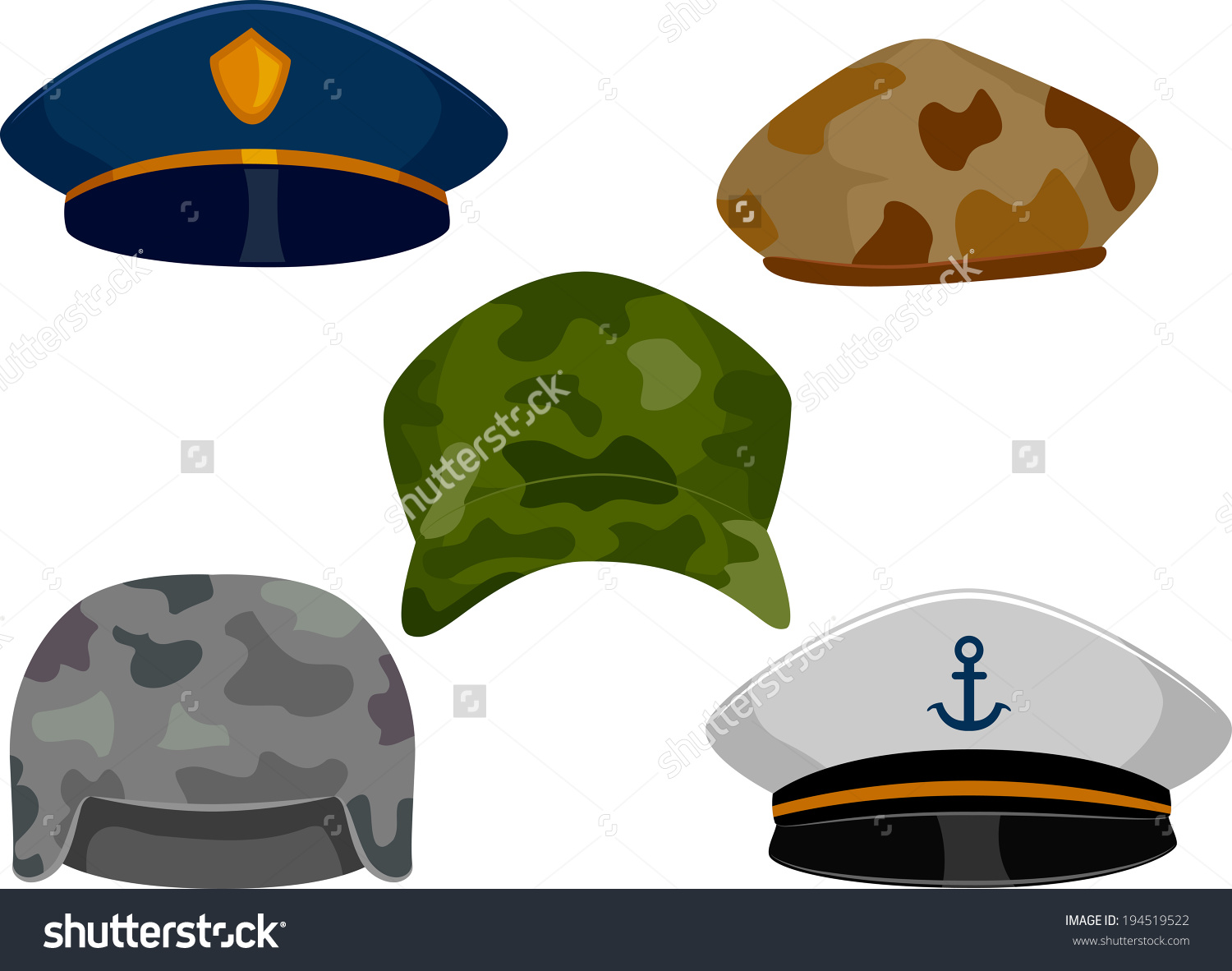Llustration Featuring Different Types Hats Associated Stock Vector.