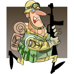 cartoon military character clipart. Royalty.