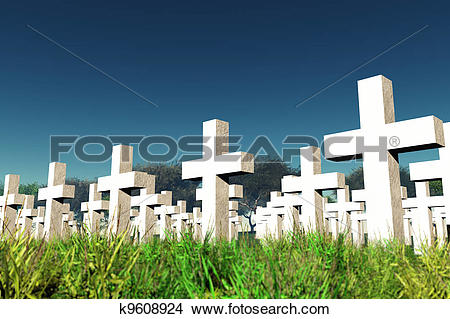 Drawings of Military Cemetery under Sky k9608924.