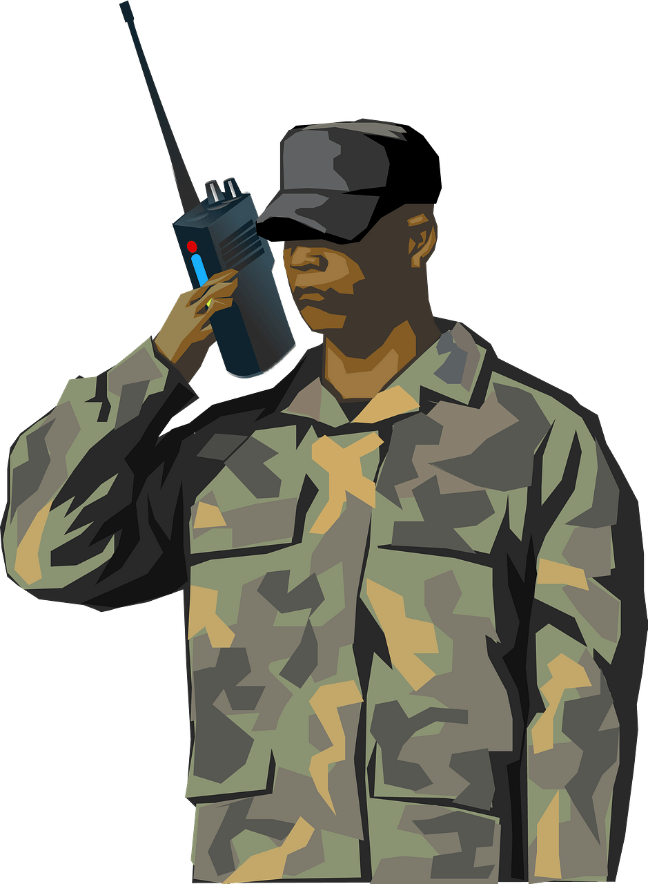 Soldier with walkie.