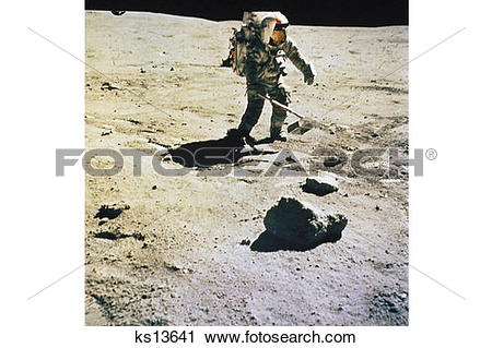 Stock Photography of Astronaut collects samples at a North Ray.