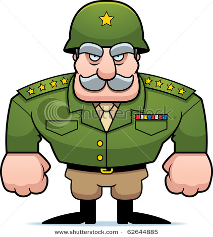 Cartoon Military General with a Helmet On..