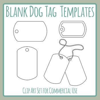 Blank Dog Tag Templates Clip Art Set for Commercial Use.