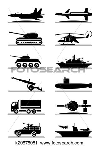 Clipart of Military equipment icon set k20575081.