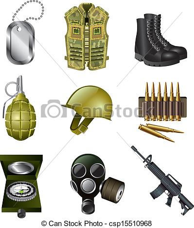 Clip Art Vector of army and military icons set.