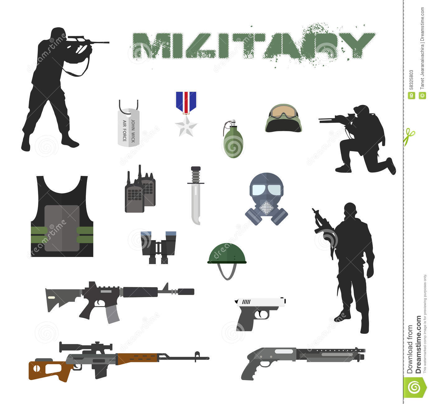 Army Concept Of Military Equipment Flat Stock Vector.
