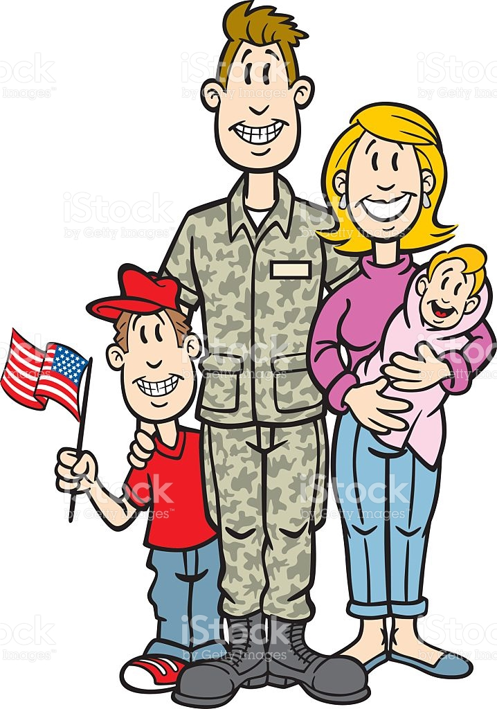 Cartoon Soldier With His Family stock vector art 110873369.
